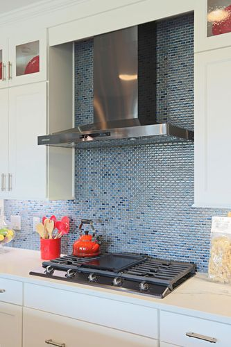 Blue glass backsplash by Wisconsin home builders, Tim O'Brien