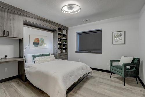 Gray bedroom by Milwaukee home builders