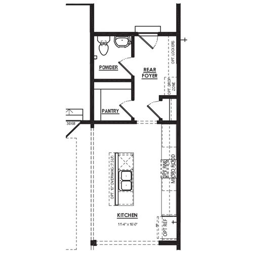 Optional Expanded Rear Foyer with Powder Room