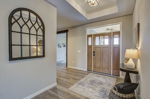 Foyer with hardwoods in a new home in Milwaukee WI