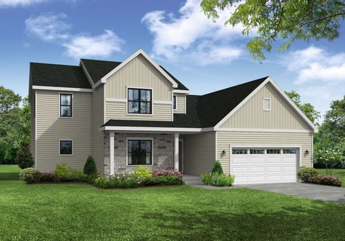 Sweetbriar Farmhouse Front Elevation Rendering