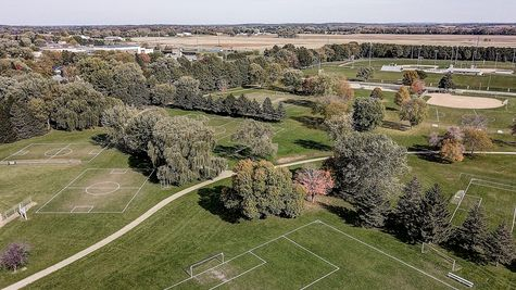 Aerial View of Oregon, WI Park near Autumn Ridge by Tim O'Brien Homes