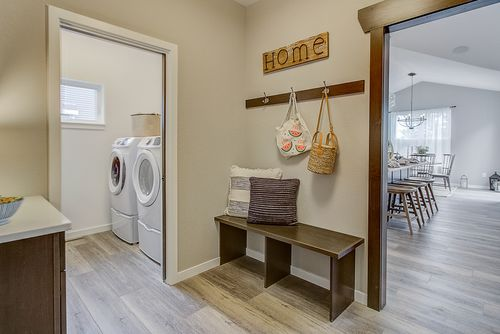 Mudroom and laundry room in a new home in Wisconsin