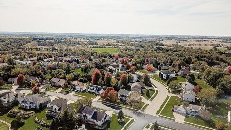Aerial view of new homes in Oregon, WI