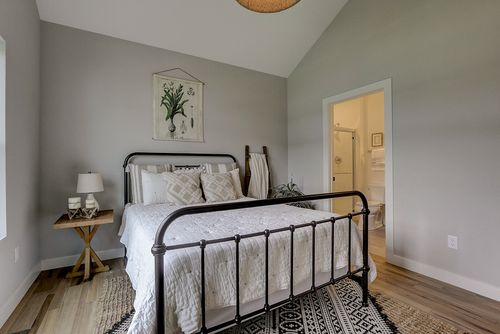 Bedroom in a new home in Madison by Tim O'Brien