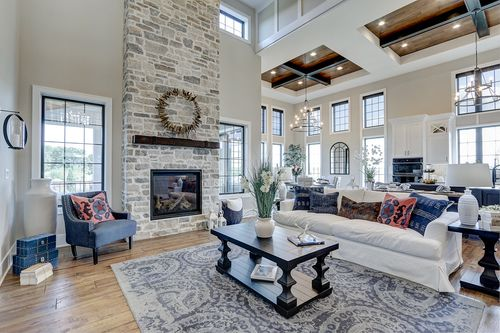 Stone fireplace in a new Tim O'Brien home