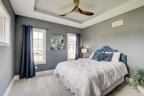 Gray bedroom in a Milwaukee WI new home