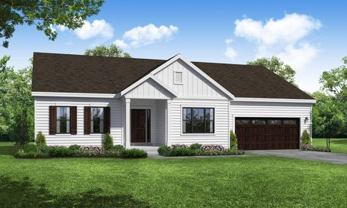 Front Exterior Rendering of Arbordale Farmhouse Elevation