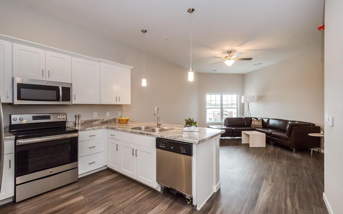 Open Kitchen Next to Living Room Area in Apartment