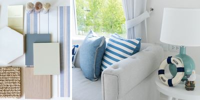 2 image collage. Image on left is of a coastal decoration color palette. Image on right is of a couch and lamp.