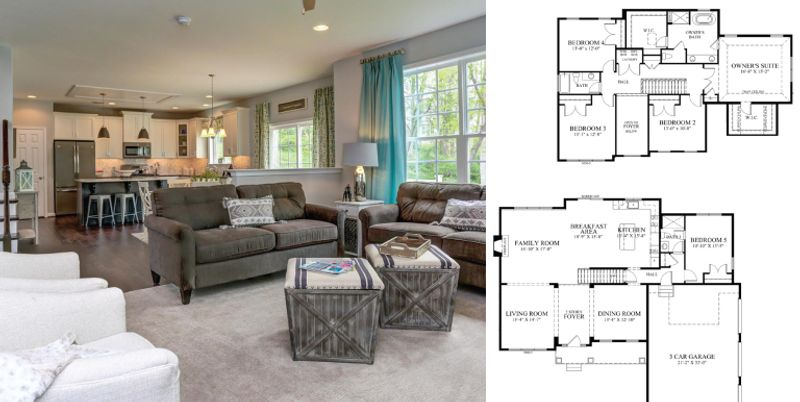 3 image collage. Image on left is of a Wilkinson living room. Images on right are layouts of a Wilkinson Homes floor plan.